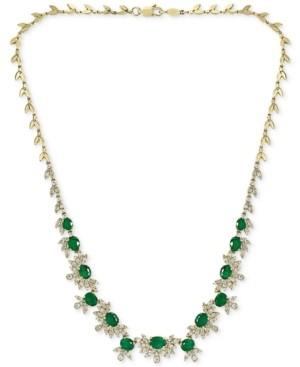 "Effy Emerald (7-1/2 ct. t.w.) & Diamond (2-1/2 ct. t.w.) 16"" Statement Necklace in 14k Gold"