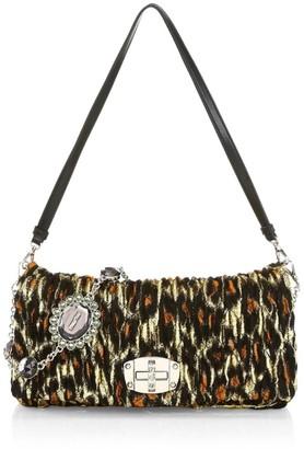 Miu Miu Crystal-Embellished Leopard-Print Matelasse Leather Shoulder Bag