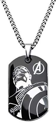 Marvel Comics Men's Stainless Steel Captain America Dog Tag Chain Pendant Necklace