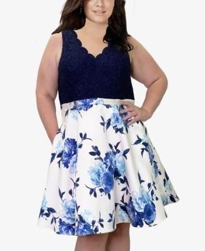 City Studios Trendy Plus Size Lace & Floral-Print Fit & Flare Dress
