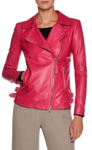 Giorgio Armani Asymmetric-Zip Lamb Leather Moto Jacket