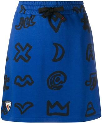 Rossignol x JCC scribbled symbol cotton blend skirt