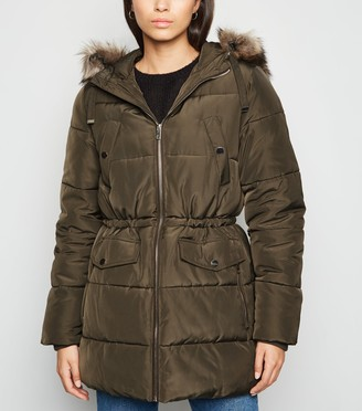 New Look Faux Fur Hooded Puffer Jacket