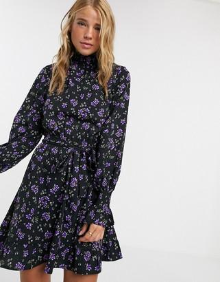 Influence high neck tie waist a line dress in floral print