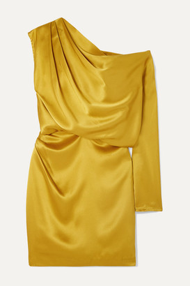 Mason by Michelle Mason One-shoulder Draped Silk-satin Mini Dress - Mustard