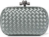 Bottega Veneta The Knot Watersnake-trimmed Intrecciato Satin Clutch - Gray green