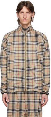Burberry Beige Vintage Check Technical Twill Zip-up Jacket