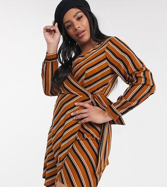 Brave Soul Plus striped wrap dress