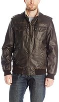 Tommy Hilfiger Men's Faux Leather Military Bomber Jacket with Sherpa Lining