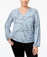 Alfani Plus Size Drapey Surplice Top, Only at Macy's