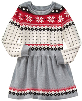 Gymboree Gray & Red Fair Isle Sweater Dress - Girls