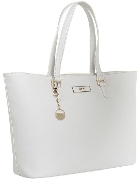 DKNY Saffiano Leather E/W Shopper (White) - Bags and Luggage