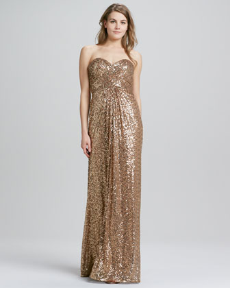 La Femme Boutique Strapless Sequined Crisscross-Back Gown