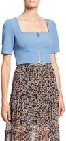 Jill Stuart Zipper Front Short-Sleeve Crop Top