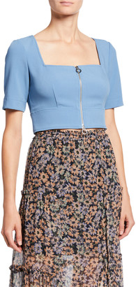 Jill by Jill Stuart Zipper Front Short-Sleeve Crop Top