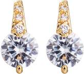 YAZILIND Elegant Simple Gold Plated Round White Cubic Zirconia Stud Earrings for Women