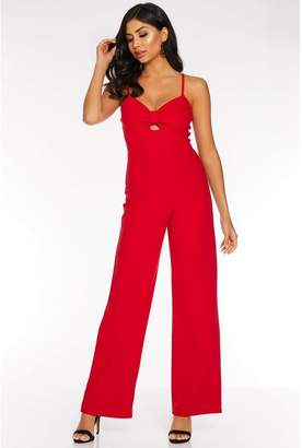 Quiz Red Cut Out Palazzo Jumpsuit