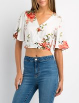 Charlotte Russe Floral Kimono Sleeve Crop Top