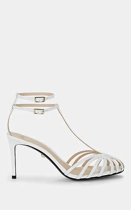 ALEVÌ Milano Women's Anna Patent Leather T-Strap Sandals - White