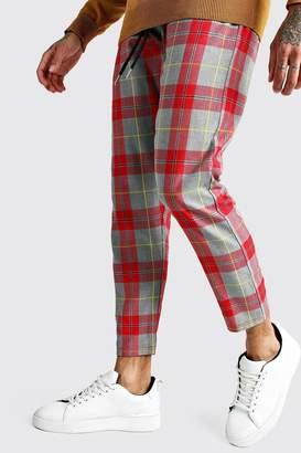 boohoo Large Scale Tartan Smart Jogger Trouser