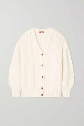 STAUD Blake Cable-knit Cotton-blend Cardigan - Ivory
