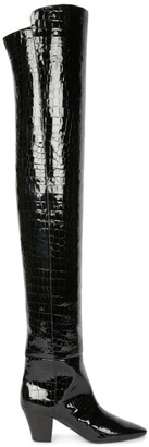Saint Laurent Sun Over-The-Knee Croc-Embossed Leather Boots