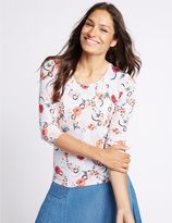 Marks and Spencer Floral Print Round Neck 3/4 Sleeve T-Shirt