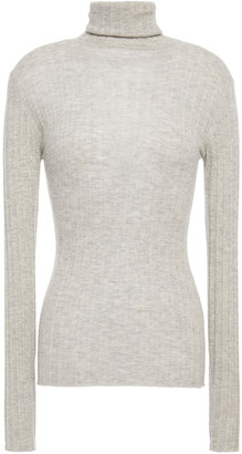 Autumn Cashmere Open Knit-trimmed Melange Cashmere Sweater