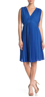 Max Studio V-Neck Pleated Shift Dress