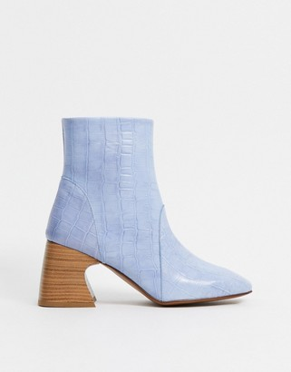 Depp leather square toe boots in cornflower blue