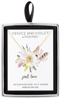 """Venice & Violet Women's Venice and Violet by Dogeared """"Just Love"""" Teeny Cross Necklace in Sterling Silver - Silver (18"""" + 2"""")"""
