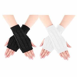 Hanma Women 2 Pairs Winter Warm Knit Fingerless Gloves Hand Crochet Thumbhole Arm Warmers Mittens