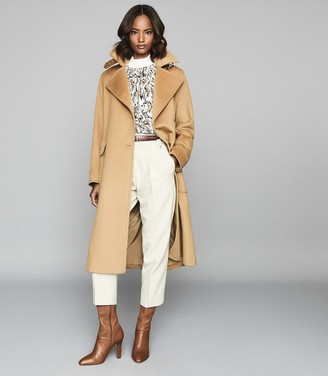 Reiss EVERLEY WOOL BLEND BELTED TRENCH COAT Camel