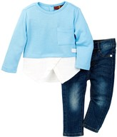 7 For All Mankind Asymmetrical Tee & Jean 2-Piece Set (Baby Girls)