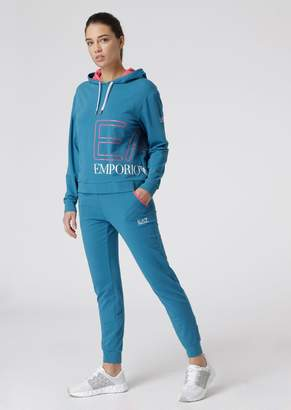 Emporio Armani Ea7 Stretch Cotton Tracksuit With Maxi-Logo Print
