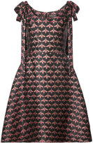 Christian Siriano shoulder bow bee print A-line dress