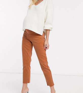 ASOS DESIGN Maternity original mom jean in rust with raw hem detail