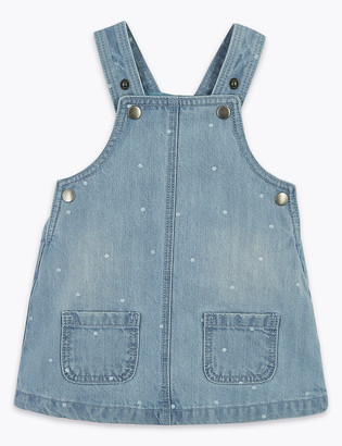 Marks and Spencer Cotton Denim Spotted Pinafore