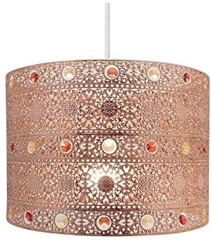 Copper Gem Moroccan Style Chandelier Ceiling Light Shade Fitting Round Universal, Plastic/Metal, Copper