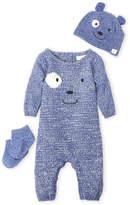 Cuddl Duds Newborn Boys) 3-Piece Bear Romper, Hat & Socks Set