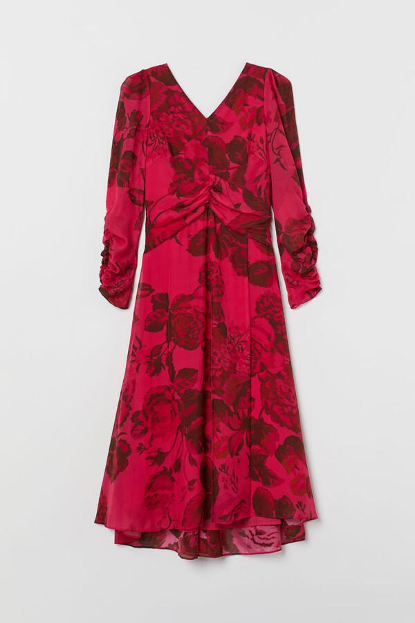 H&M Patterned Silk Dress - Pink