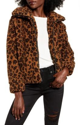 BB Dakota Leopard Print Faux Shearling Jacket