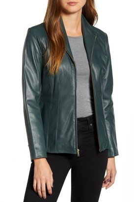 Cole Haan Wing Collar Faux Leather Jacket