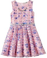 Knitworks Girls 7-16 Floral Burnout Stripe Skater Dress