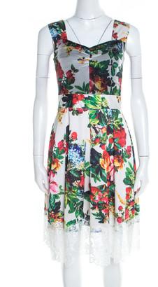 Dolce & Gabbana White Floral Print Scalloped Lace Hem Sleeveless Dress S