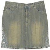 Revolt Plus Size Embroidered Short Denim Skirt -Size: 22 Color:
