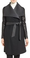 Mackage Women's Leather Sleeve Double Face Wool Blend Wrap Coat