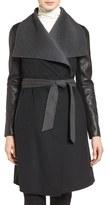 Mackage Women's Leather Sleeve Wool Blend Wrap Coat