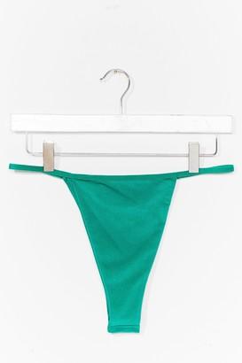 Nasty Gal Womens Let Us Sea High-Leg Tanga Bikini Bottoms - Black - 6