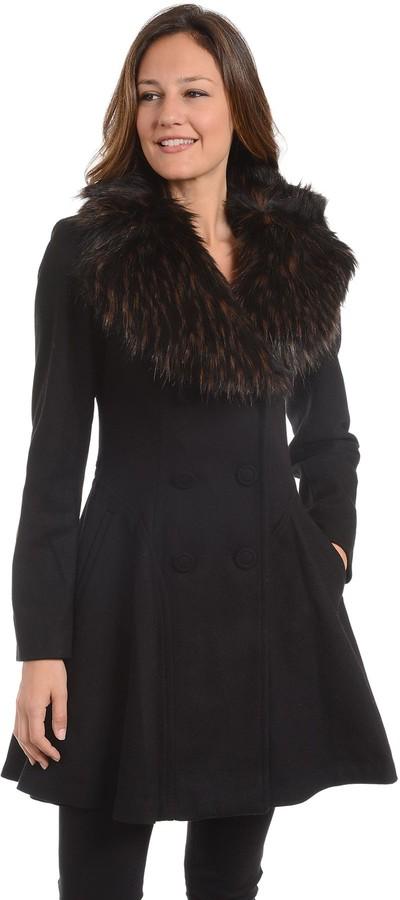 Fleet Street Women's Faux-Fur Collar Fit & Flare Coat